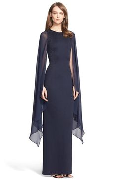 St. John Collection Embellished Angel Sleeve Matte Shine Milano Knit Gown available at #Nordstrom