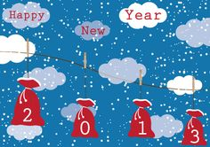 Christmas present bags 2013 hanging on wire outside on snowy weather. Happy New Year 2013 vector design free for download vector in ai.