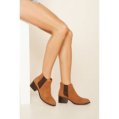 Forever 21 Women's  Leather Chelsea Boot ($35) via Polyvore featuring shoes, boots, genuine leather boots, forever 21, leather chelsea boots, synthetic boots and leather chelsea ankle boots