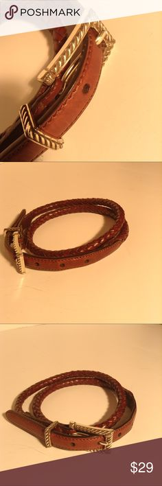 """Talbot's Women's Brown Braided Leather Belt Medium Talbot's Braided Leather Belt - Dark Tan - Size Medium PreOwned. Excellent Condition.  Approximately 39"""" long Holes located at approximately 30"""", 31"""", 32"""", 33"""", 34"""" Silver tone hardware Item#D1094 Talbots Accessories Belts"""