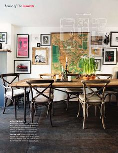 rustic dining table - absolutely love these chairs! reminds me of the ones on Secrets from a Stylist show...
