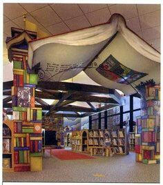 A giant Book Heralds the Children's Library Area in Southfield, Michigan Public Library Beautiful Library, Dream Library, Library Books, Beautiful Homes, Library Ideas, Kids Library, Children's Books, Future Library, Beautiful Children