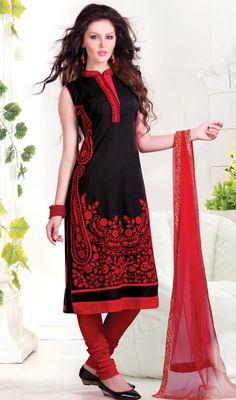 Black and Red Cotton Churidar Kameez Price: Usa Dollar $119, British UK Pound £70, Euro88, Canada CA$128 , Indian Rs6426.
