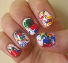 Easy Nail Art Paint Splatter Just Need White Colors And A
