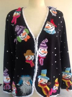 Ugly Christmas Sweater XXL Cardigan Snowman Embellished 2X Design Options de1bc4bee