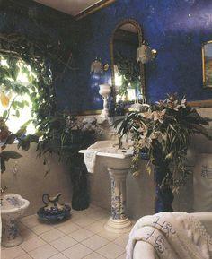 blue and white bohemian bathroom Bohemian Bathroom, Bohemian Decor, White Bohemian, Boho, Beautiful Ruins, Beautiful Homes, Unusual Homes, Beautiful Bathrooms, White Bathrooms