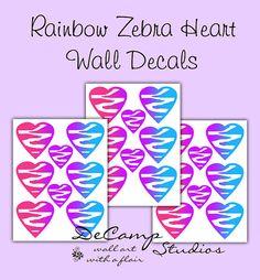 Rainbow Zebra Animal Print Heart Wall Decals for teen girls bedroom, baby nursery, or any home decor #decampstudios