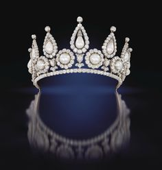 The Rosebery Tiara in gold silver and diamonds, with natural bouton and drop pearls in fitted case by R & S Garrard, London, circa 1878, from The Qatar Museums Authority Collection. Photo © Sotheby's.