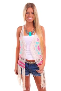 Lime Lush Boutique - Knitted Aztec Vest with Fringe Detail, $32.99 (http://www.limelush.com/knitted-aztec-vest-with-fringe-detail/)