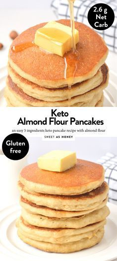 Keto Almond flour pancakes only 5 ingredients – Sweetashoney Almond flour pancakes Healthy gluten free recipe – Sweetashoney No Flour Pancakes, Low Carb Pancakes, Gluten Free Pancakes, Low Carb Breakfast, Breakfast Recipes, Pancakes Easy, Fluffy Pancakes, Breakfast Gravy, Gluten Free Pancake Recipe Easy