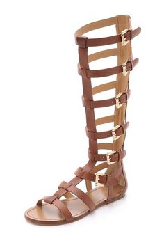 Belle by Sigerson Morrison Bittan Tall Brown Leather Gladiator Sandals Size 5-6 #SigersonMorrison #Gladiator