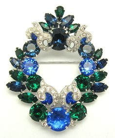 Vintage EISENBERG Crystal Rhinestone Set Large Brooch Pin and Earrings from babsdelights on Ruby Lane