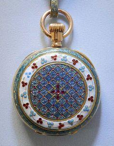 Patek Philippe 18K and Enamel Pendant Watch with Pin  circa 1891