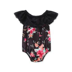 Summer Newborn Baby Girl Lace Floral Romper Turn-Down Collar Jumpsuit Outfits Summer Clothes