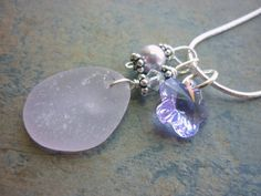 Sea Glass Necklace Deep Purple Lavender by TheMysticMermaid, $28.00.  Love this minus the flower.