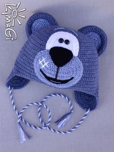 Crochet~ Blue Bear Hat:
