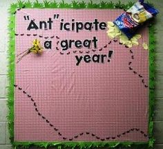 ants and picnic theme back to school bulletin board
