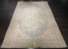 """Snowflake"" 6'7""x10'9"" Vintage Distressed Turkish Oushak Rug"
