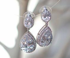 Diamond teardrop earrings. White-Wedding  #diamond #teardrop #earrings