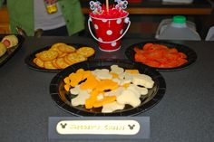 Found Mickey-shaped cheese to put with crackers & pepperoni slices