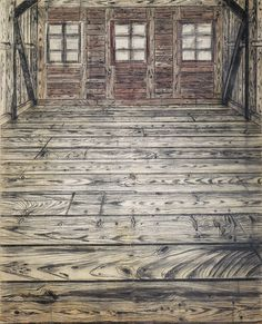 Anselm Kiefer, Wooden Room, 1972, Charcoal and oil on burlap, 299.7 x 219.7 cm
