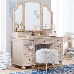Crafted from kiln-dried wood, our Chelsea Vanity Super Set is built to last. Featuring seven drawers in multiple sizes, this timeless piece is designed to hold all of your precious treasures. Equal parts brilliant and beautiful, this unique vanity… Makeup Table Vanity, Vanity Desk, Furniture Vanity, Shabby Chic Furniture, Vanity Tables, Makeup Vanities, Bathroom Vanities, Vanity Chairs, Desk Hutch