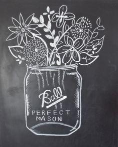 Digital File - Chalkboard Print - Mason Jar of Wildflowers by JMPaper