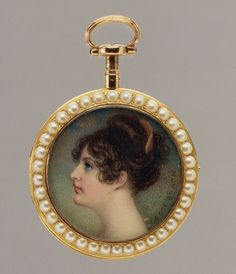 Portrait of a Woman, Said to Be Emma (1765–1815), Lady Hamilton. Miniature portrait by Irish artist Adam Buck (1759-1833), 1804.
