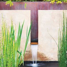 Calming wall fountain This fountain and pool create a focal point near a dining area in Walnut Creek, Calif. The fountain's copper back and water trough define the smooth stucco wall. Design: Stefan Thuilot with Joseph Huettl, Huettl Thuilot Associates, Outdoor Water Features, Pool Water Features, Water Features In The Garden, Design Fonte, Fountain Design, Fountain Ideas, Modern Fountain, Landscape Design, Garden Design