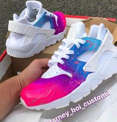 Behind The Scenes By marney_boi_customs Custom Sneakers, Custom Shoes, Airbrush, Glitter Iphone 6 Case, Sneakers Fashion, Sneakers Nike, Bff Goals, Air Huarache, Huaraches