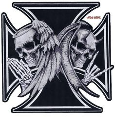 Grey skull ironcross color decal skull and crossbones decals iron on angel devil skull black cross large biker motorcycle vest patch embroidered publicscrutiny Gallery