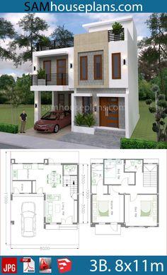 Small Modern House Plans, 3d House Plans, Narrow Lot House Plans, Indian House Plans, Beautiful House Plans, Model House Plan, Duplex House Plans, House Blueprints, Home Plans
