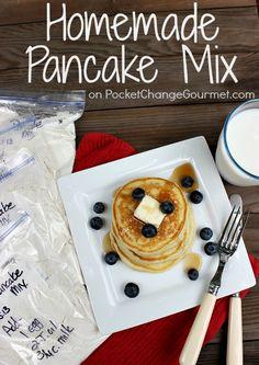 Homemade Pancake Mix :: Recipe on PocketChangeGourm... #Breakfast #Quick #BacktoSchool
