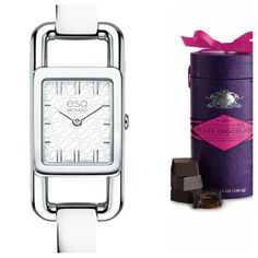 Petit & féminine for the special chocolate and watch lover in your life! Valentine's Petits Chocolats & Movado Angle