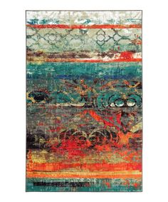 119.99-5 X8 Red & Teal Eroded Color Rug