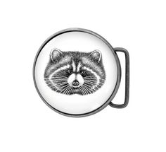 Belt buckle Raccoon Antiqued Silver by UniqueArtPendants on Etsy
