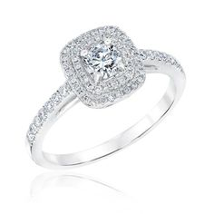 Exclusive REEDS Signature Round Diamond Double Halo Engagement Ring 5/8ctw - Item 19788587   REEDS Jewelers