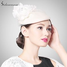 Fashion Autumn Winter Elegant Female Woman Lady Impotred Wool Fascinator Hats With Veil German Headgear Bridal Hat Like if you are Excited! #shop #beauty #Woman's fashion #Products #Hat