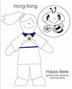 Hong Kong Happy Bee Colouring Sheet