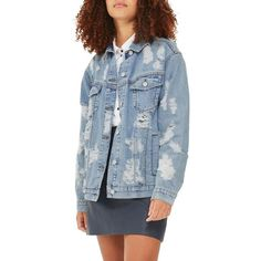 Women's Topshop Ripped Denim Jacket ($64) ❤ liked on Polyvore featuring outerwear, jackets, mid denim, blue jackets, distressed jean jacket, oversized denim jacket, denim jean jacket and layered jacket