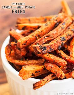 #Healthy Oven Baked Carrot and Sweet Potato Fries // wishfulchef.com