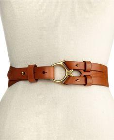 Lauren by Ralph Lauren Belt, Vachetta Leather with Metal Ring, Tan/Brown - Macy's