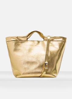 Golden metallic handbag - See all - BAGS - Uterqüe Spain