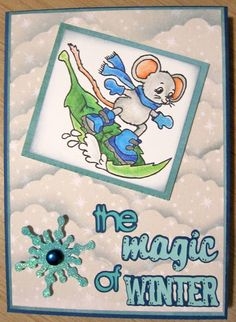 """Christmas card using """"Maxwell Snowboarding"""" by Kraftin' Kimmie and Cricut Winter Woodland cartridge. Coloured with Prismacolor pencils."""