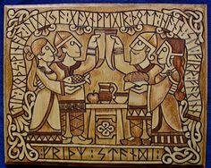Runes Lasting Frith w/ Viking Feast scene wood by ladybuckthorn, $36.00