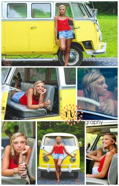 Senior pictures with cars, Volkswagen bugs, VW buses are just so awesome. Love the bright colors and hippie style ;) Great poses. ~NS Photography