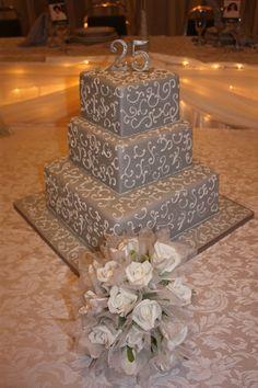 25th Wedding Anniversary Cake Design...