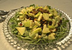 Modern Waldorf Salad with Dried Cranberries and Creamy Walnut Oil Vinaigrette