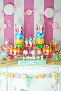 This #candy table is full of colorful #sweets.