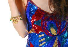 Vintage Charm Bracelet 60s Gold Tone Christmas Holiday Charm Bracelet OSFM